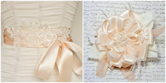 lace bridal sash hair accessory