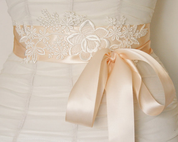 lace bridal sash satin