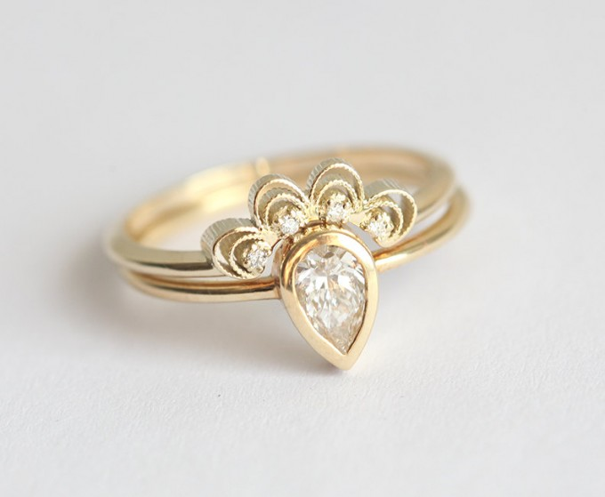 lace engagement ring set by minimalvs - lace accessories weddings