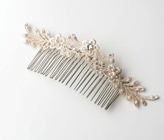 lace hair comb by laura stark - lace accessories weddings