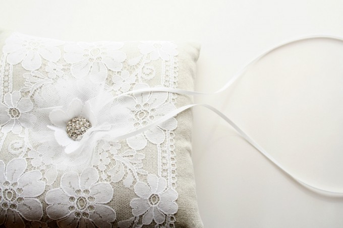 lace ring pillow by laura stark - lace accessories weddings