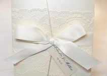 lace wedding invitations in white