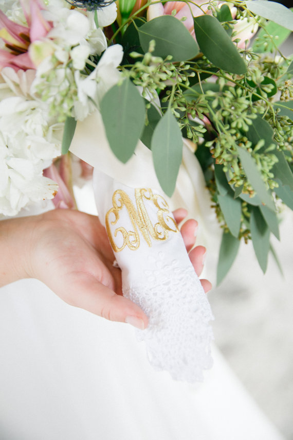 lace wrapped bouquet handkerchief by southern ever after - lace accessories weddings