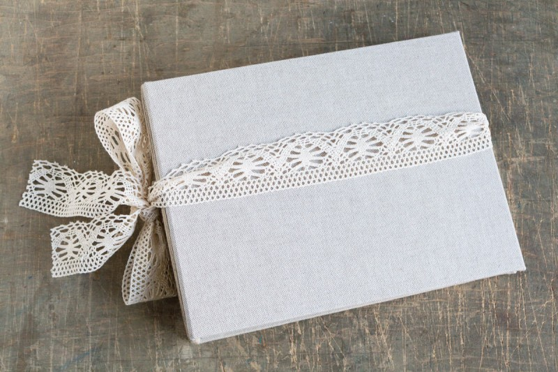 large linen and lace guest book by albumeria