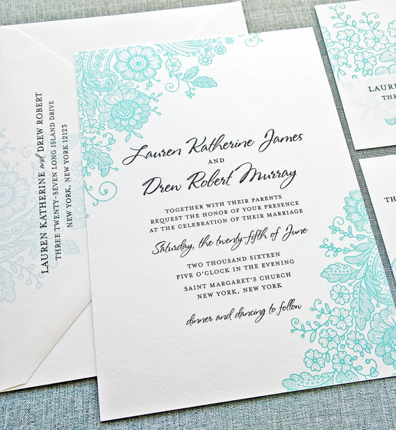 lauren lace teal wedding invitation - wedding invitation credit + robe giveaway