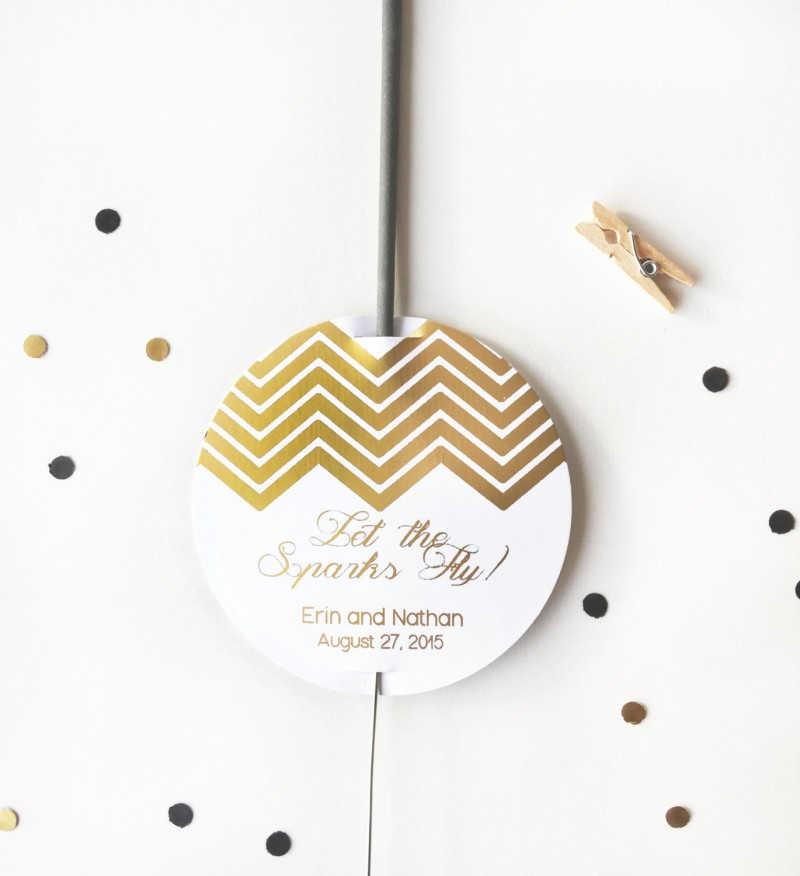 let the sparks fly gold sparkler tags