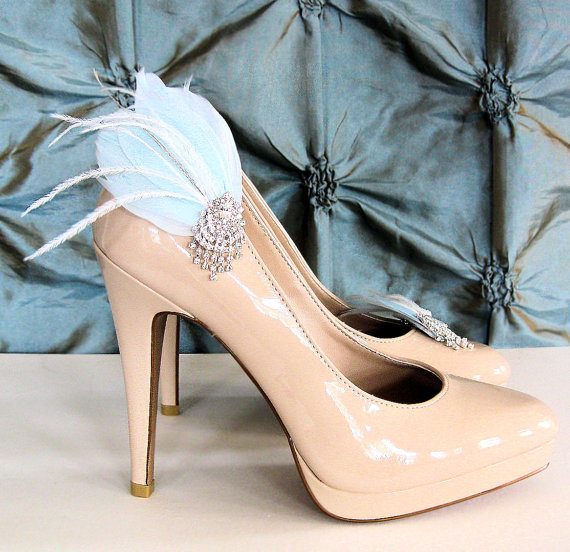 light blue shoe clips feather