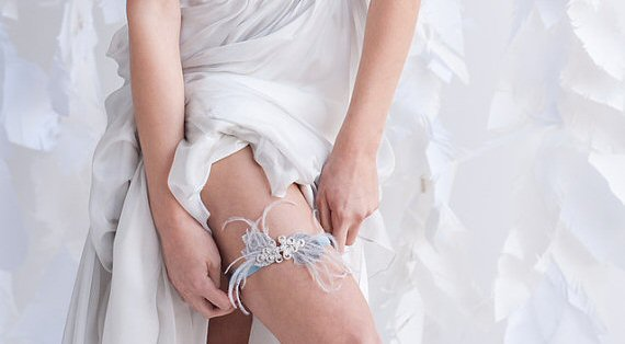 light blue wedding garter