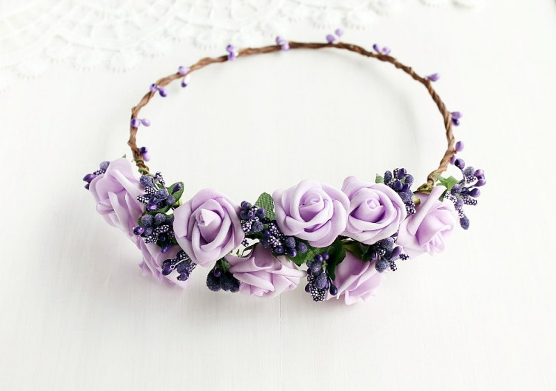 Lilac Rose | Flower Girl Hair Crowns | http://emmalinebride.com/flower-girl/hair-crowns/