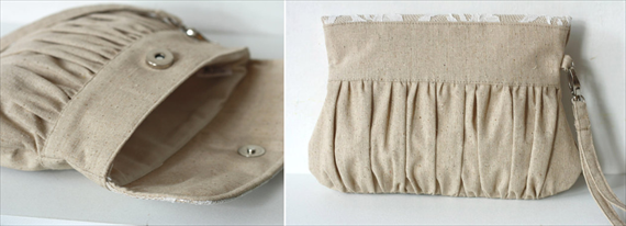linen and lace wedding clutch purse