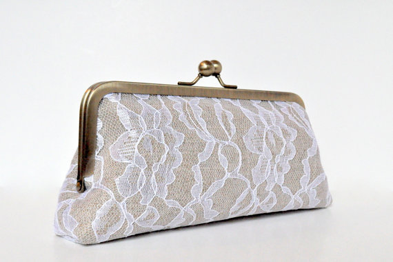 linen and lace wedding clutch