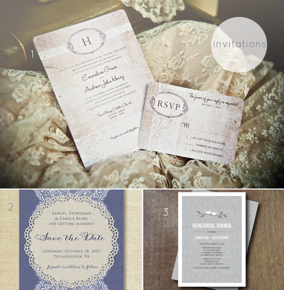 linen and lace wedding theme invitations