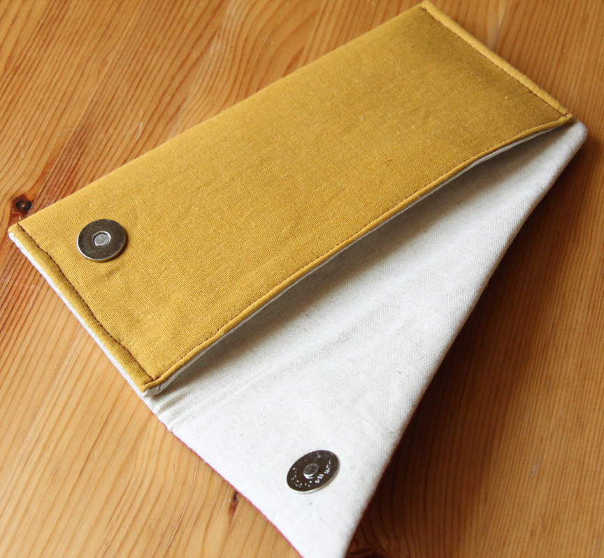 Fold Over Clutch Purse with Colorblock Style and Button Detail
