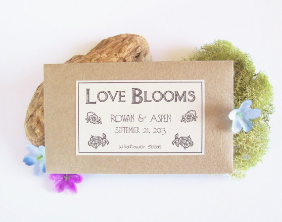 50 Best Bridal Shower Favor Ideas: love blooms wildflower seed packets bridal shower favors (by fairyland bazaar)
