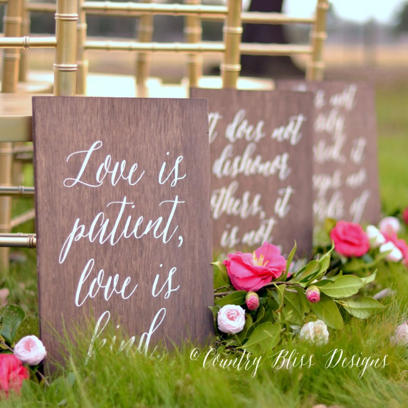 Love is Patient Aisle Signs by Country Bliss Designs
