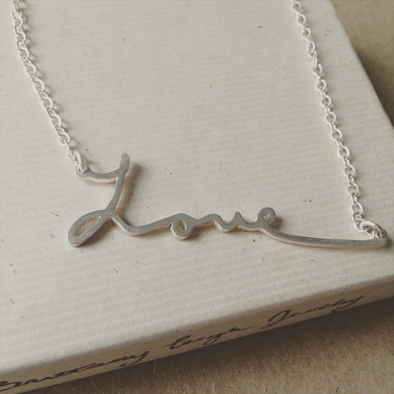 Handwriting Necklace | http://emmalinebride.com/bride/handwriting-necklace/