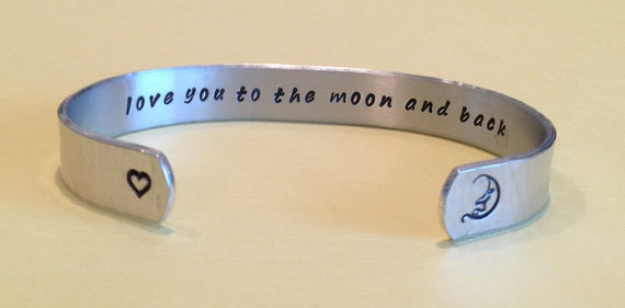 20 Valentines Day Gift Ideas - love you to the moon and back cuff bracelet