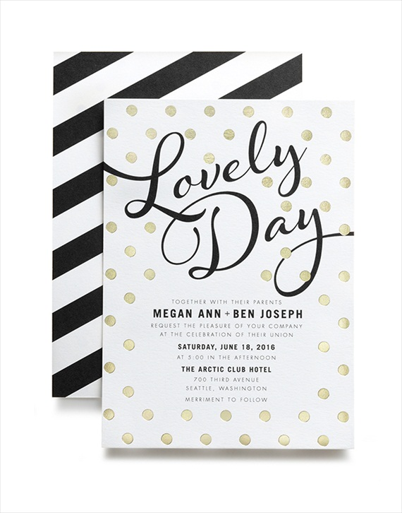 Lovely Day foil invitation - Wedding Stationery Trends 2014 via EmmalineBride.com