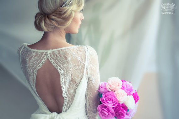 low rolled updo wedding hairstyle