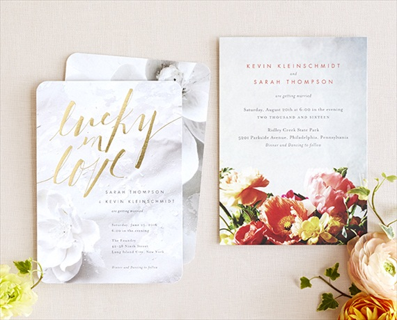 Lucky in Love Foil Invitation - Wedding Stationery Trends 2014 via EmmalineBride.com