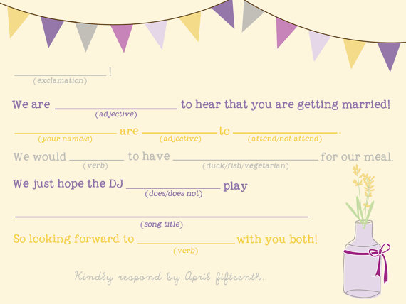 Mad Lib Wedding RSVP Card (by Splash of Silver) #handmade #wedding