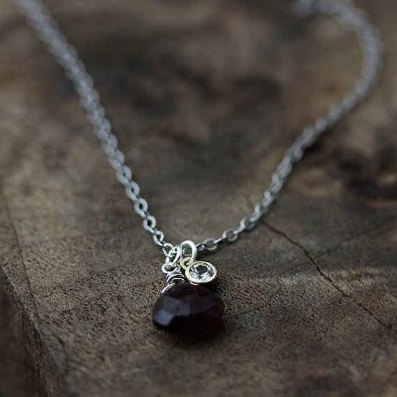 maid of honor gift - deep red necklace