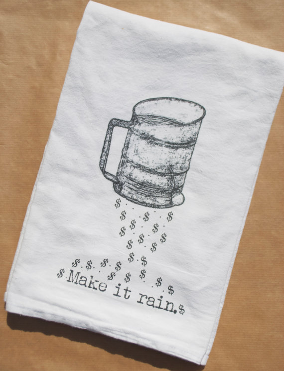 make it rain - tea towels for wedding showers