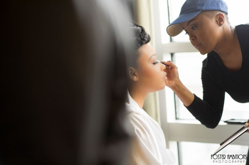 mansion on main street wedding - the bride getting her makeup done