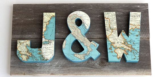 map covered letter monograms