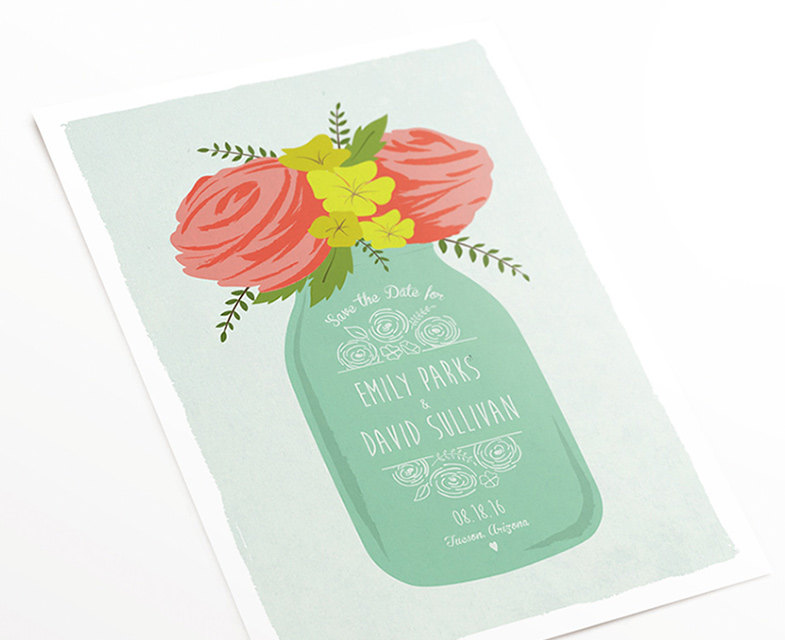 mason jar save the date with flowers