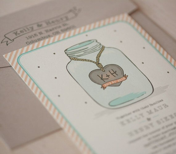 Mason Jar Wedding Invitations (by Jen Simpson Design)