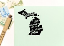 michigan return address stamps etsy