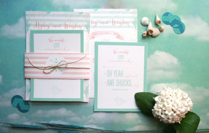 mint and coral wedding invitations | Coral and Mint Wedding http://emmalinebride.com/color/coral-and-mint-wedding/