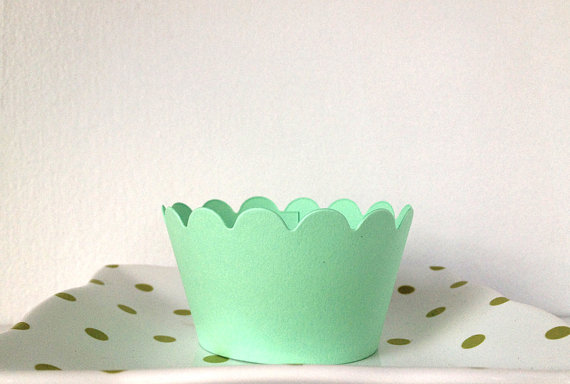Wedding Cupcake Ideas: mint green wedding cupcake wrappers (by Lasso'd Moon)