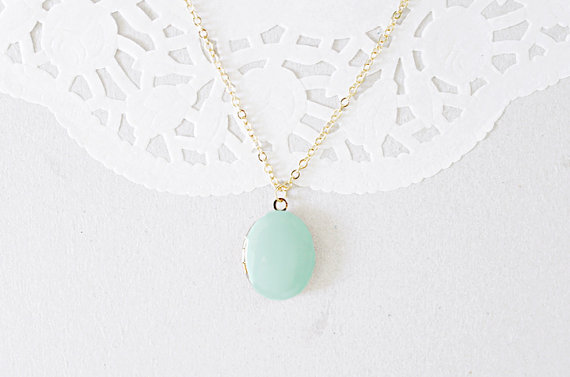 Mint Locket (by The Blooming Thread via EmmalineBride.com)