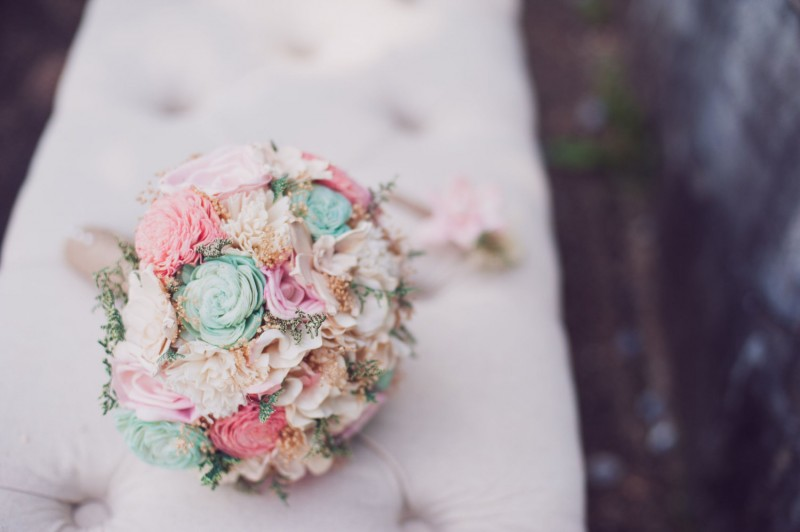 mint pink and ivory colorful sola flower bouquet