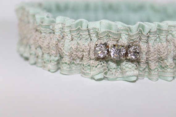 mint silk wedding garter via 5 Shabby Chic Wedding Garters at EmmalineBride.com