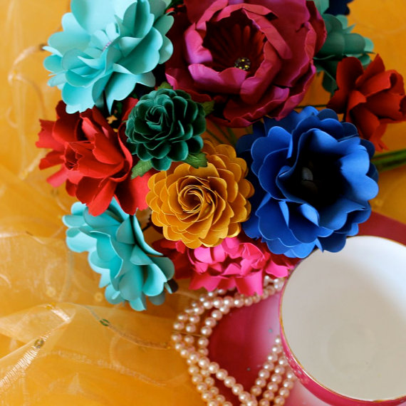 colorful mix | wedding bouquets made of paper via emmalinebride.com