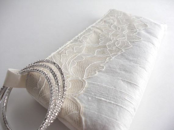 wedding wristlet - modern lacy bridal bag