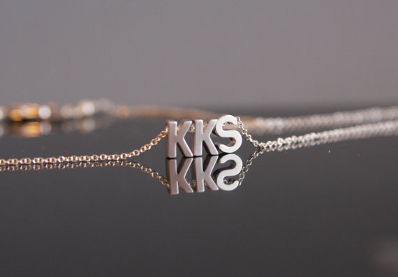 wedding trend: great idea! put on the monogram necklace after the ceremony to officially 'announce' your new initials