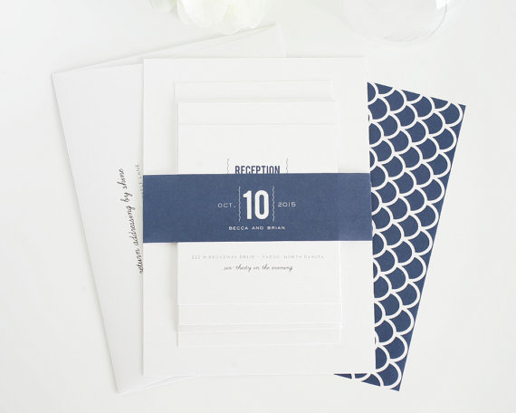 navy modern wedding invitations