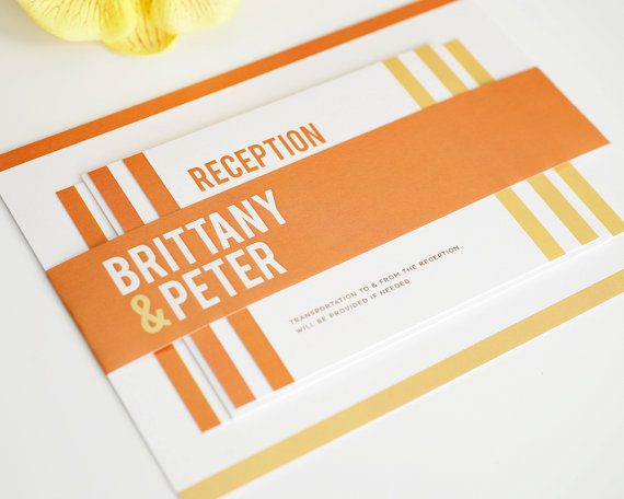 modern wedding invitations in orange