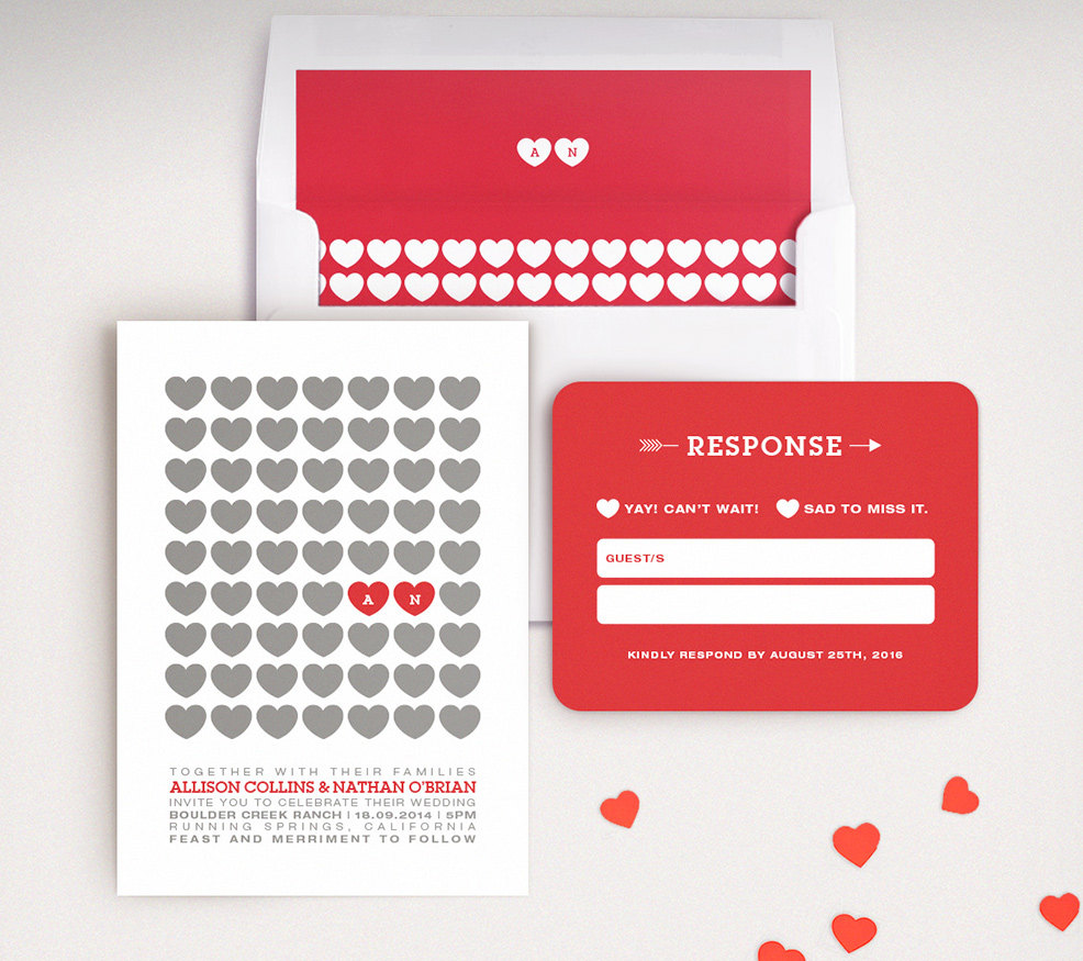 Modern Red and White Heart Wedding Invitations -- love these! By Lucy Loves Paper. | https://emmalinebride.com/invites/heart-invitations-weddings/