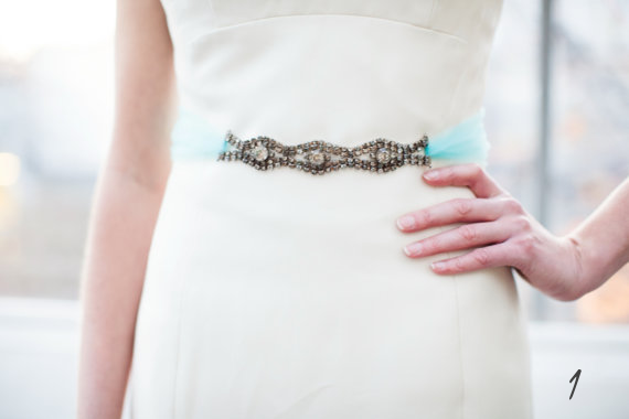 18 Modern Ideas for Something Blue via Emmaline Bride - dress sash by The Ritzy Rose