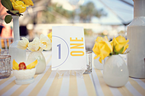 Modern Table Numbers for Weddings (photo: pure7studios, table numbers by 2BSquared via EmmalineBride.com)