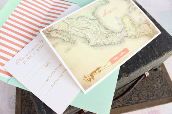 modern travel - Destination Wedding Invitations