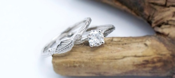 moissanite bridal set twig rings