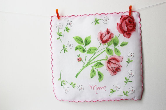 embroidered wedding ideas - mom handkerchief with embroidery