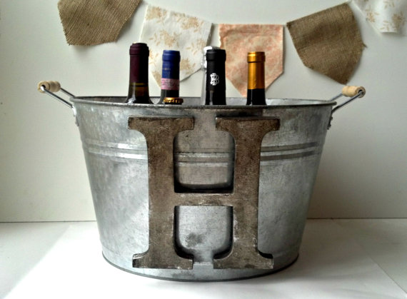 monogram-galvanized-champagne-tub-wedding-gift
