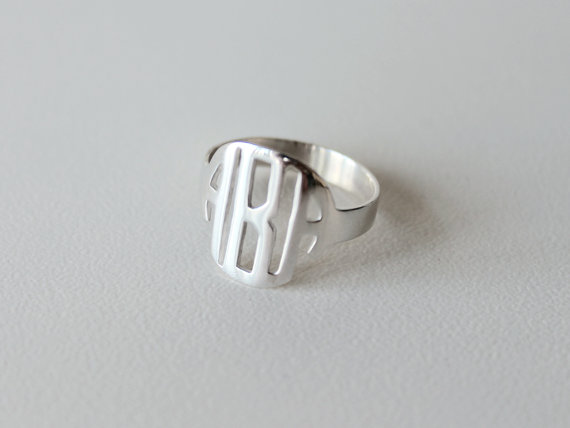 Monogram Necklace for Wedding - ring option - great idea! put on the necklace after the ceremony to officially 'announce' your new name
